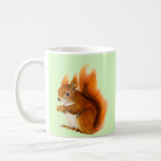 Red Squirrel Painted in Watercolor Wildlife Art Coffee Mug
