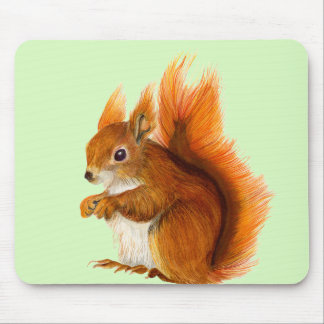 Red Squirrel Painted in Watercolor Wildlife Art Mouse Pad