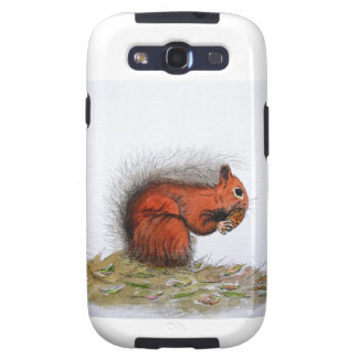 Red Squirrel pine cone Galaxy SIII Cases