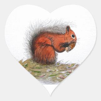Red Squirrel pine cone Heart Sticker