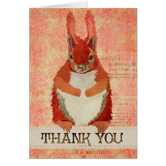 Red Squirrel Thank You  Card