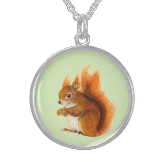 Red Squirrel Watercolor Painting Gifts and Bags Sterling Silver Necklace