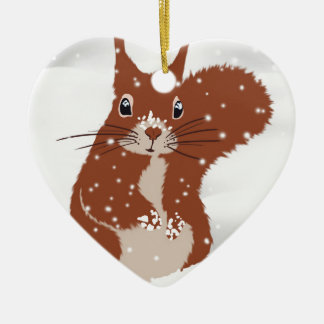 Red Squirrel Winter Snow Snowflakes Cute Animal Ceramic Ornament