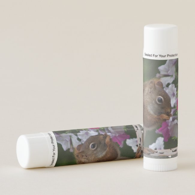 Red Squirrel with Petunia Flowers Lip Balm