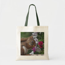 Red Squirrel with Petunias Tote Bag