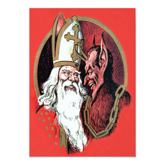 Red St Nicholas Krampus Card