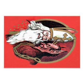 Red St Nicholas Krampus Photo Print