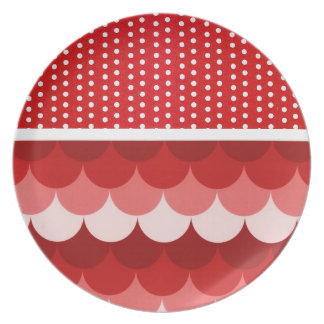 Red Stacked Circles and Polka Dots Melamine Plate
