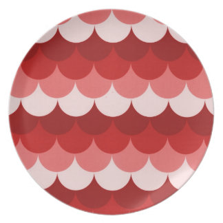 Red Stacked Circles Dinner Plate