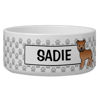 Red Staffordshire Bull Terrier And Name Bowl