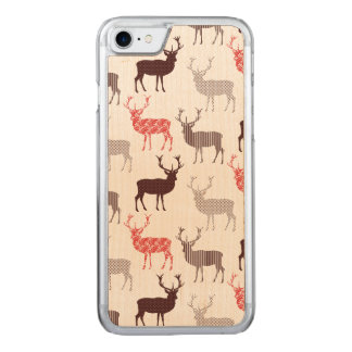 Red Stag Christmas Pattern Carved iPhone 8/7 Case