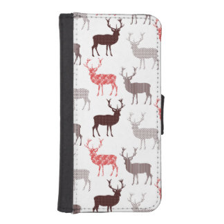 Red Stag Christmas Pattern Wallet Phone Case For iPhone SE/5/5s