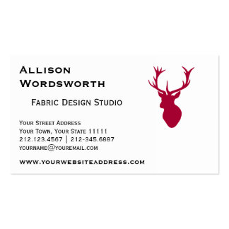 Red Stag Head Christmas or Stag Party Double-Sided Standard Business Cards (Pack Of 100)