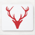 Red Stag Head Christmas or Stag Party Mouse Pad