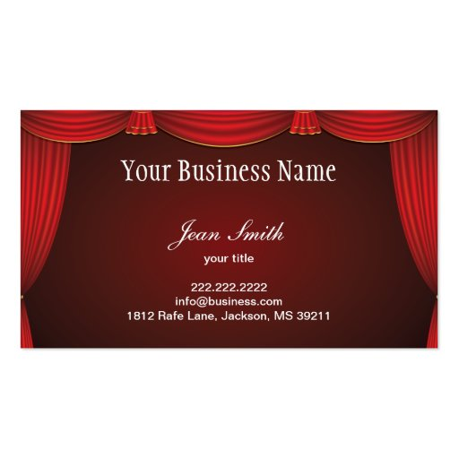 Red Stage Curtain Business Card
