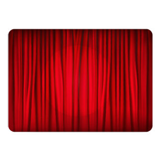 """Red Stage Curtain Pattern 5"""" X 7"""" Invitation Card"""