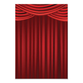 Red Stage Curtains 3.5x5 Paper Invitation Card