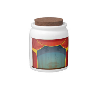 red stage open candy jar