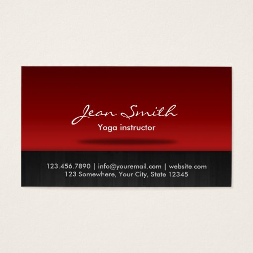 Red Stage Yoga instructor Business Card