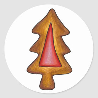 Red Stained Glass Christmas Tree Holiday Cookie Classic Round Sticker
