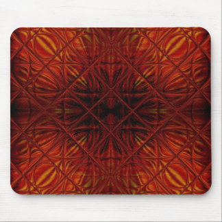 Red stained glass diamond pattern mouse pad