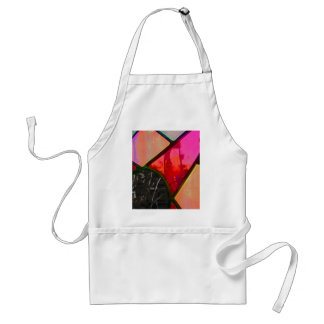 Red stained multi color adult apron