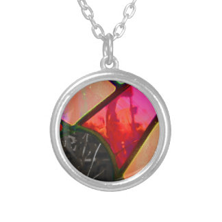 Red stained multi color silver plated necklace