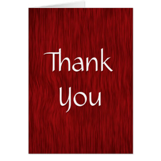 Red Stained Rough Wood Thank You Card