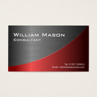 Red Stainless Steel Curved, Business Card