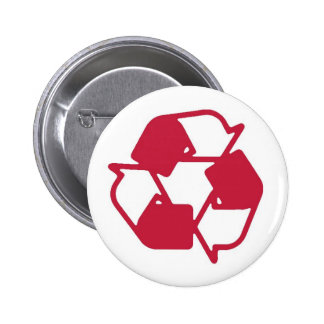 Red Stamped recycle logo 2 Inch Round Button