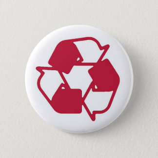 Red Stamped recycle logo Button