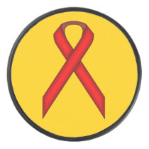 Red Standard Ribbon by Kenneth Yoncich Hockey Puck