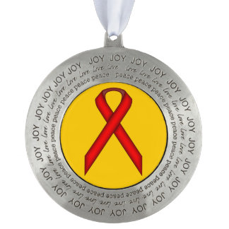 Red Standard Ribbon by Kenneth Yoncich Pewter Ornament