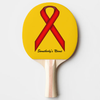Red Standard Ribbon by Kenneth Yoncich Ping Pong Paddle