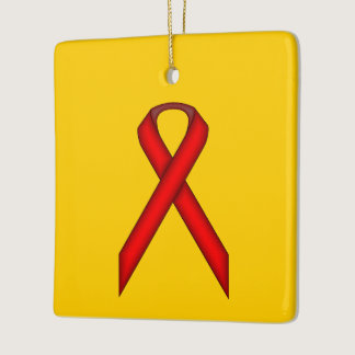 Red Standard Ribbon Ceramic Ornament