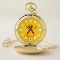 Red Standard Ribbon (Cf) by K Yoncich Pocket Watch