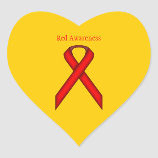 Red Standard Ribbon Heart Sticker