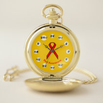 Red Standard Ribbon (Kf) by K Yoncich Pocket Watch