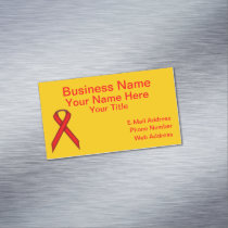 Red Standard Ribbon Magnetic Business Card