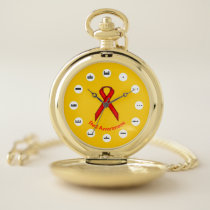 Red Standard Ribbon (Mf) by K Yoncich Pocket Watch