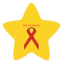Red Standard Ribbon Star Sticker