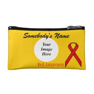 Red Standard Ribbon Template Cosmetic Bag