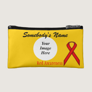 Red Standard Ribbon Template Cosmetic Bag