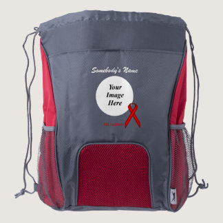 Red Standard Ribbon Template Drawstring Backpack