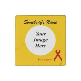 Red Standard Ribbon Template Stone Magnet