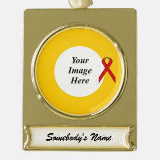 Red Standard Ribbon Template Gold Plated Banner Ornament
