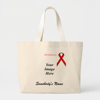 Red Standard Ribbon Template Large Tote Bag