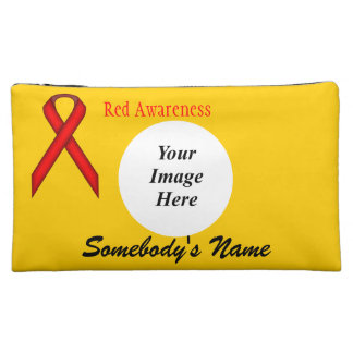 Red Standard Ribbon Template Makeup Bag