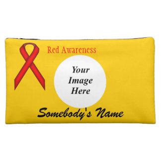 Red Standard Ribbon Template Makeup Bag