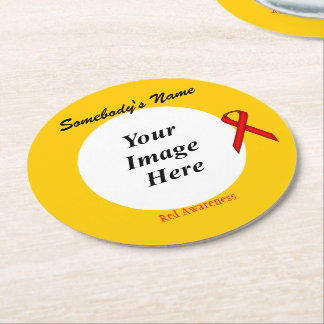 Red Standard Ribbon Template Round Paper Coaster